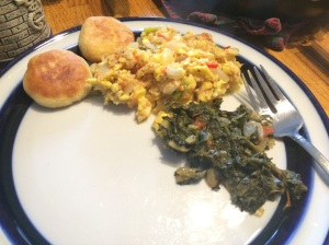 Ackee, saltfish, dumplings and spinach.