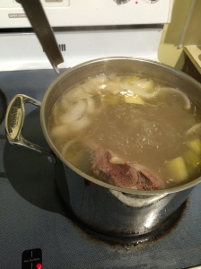 Boil the lamb, onion and celery for a couple of hours.
