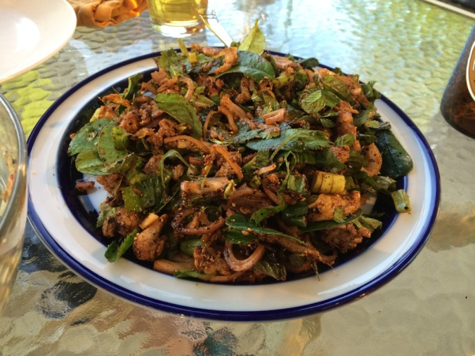 Finished laap –a heap of vegetables and a heap of delicious meat.