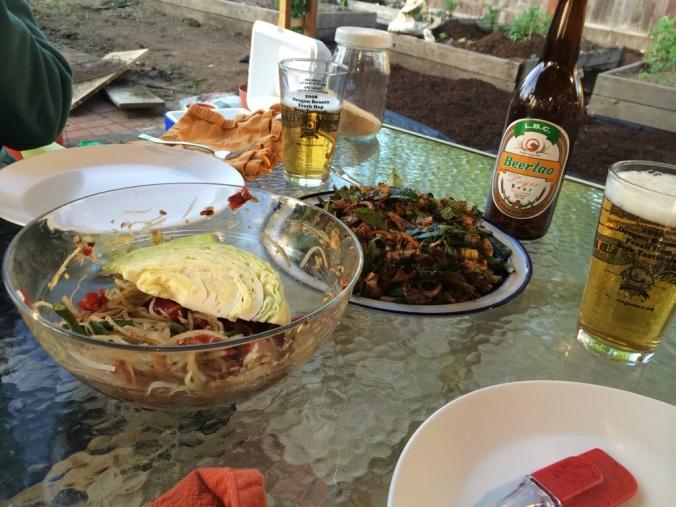 Papaya salad (left), laap (center) and Beerlao.