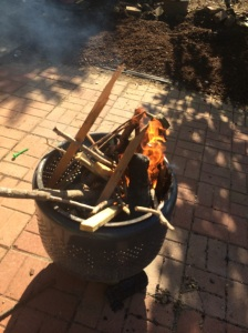 Start your fire while the chicken is marinading. Use good-smelling wood so your neighbors don't hate you.