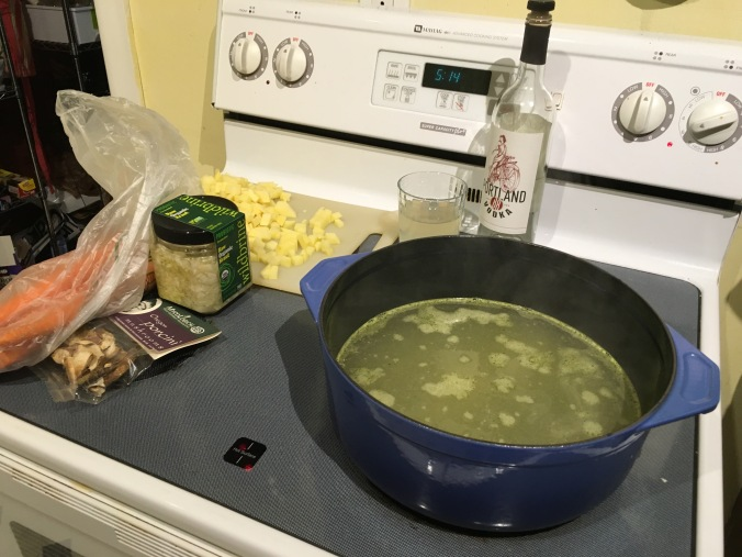 Ingredients set to deploy: Broth, kraut, potatoes, shrooms… and libations.