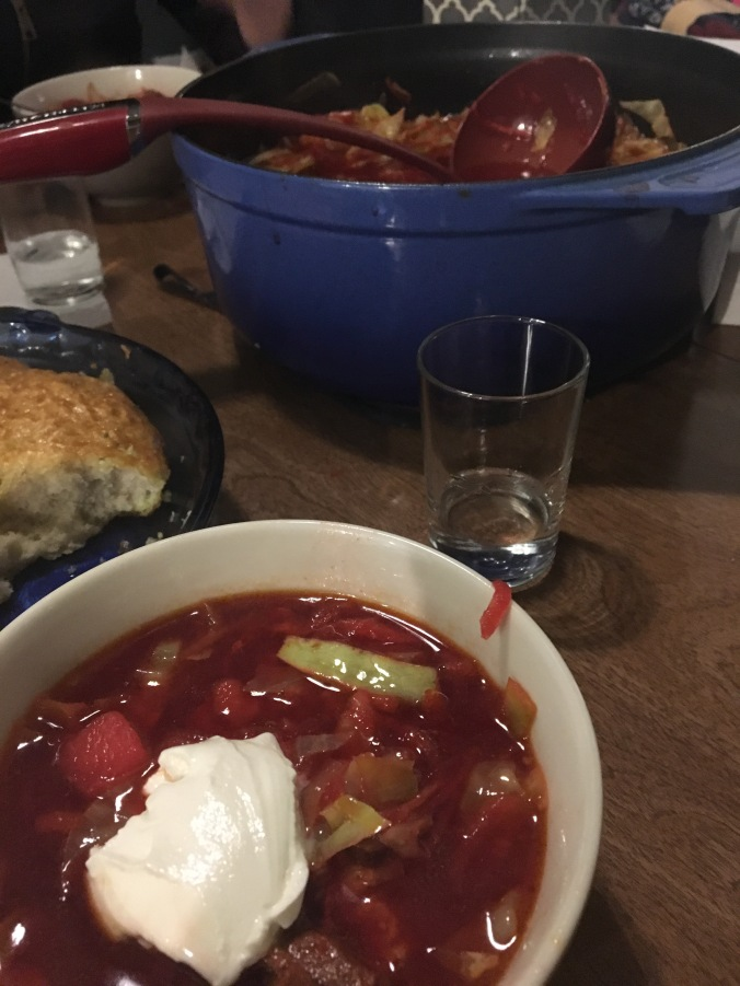 Borscht, pampushki, and vodka.