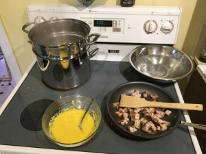 Cooking pasta carbonara